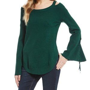 GB Cold Shoulder Green Sweater w/Bell Tie Sleeves